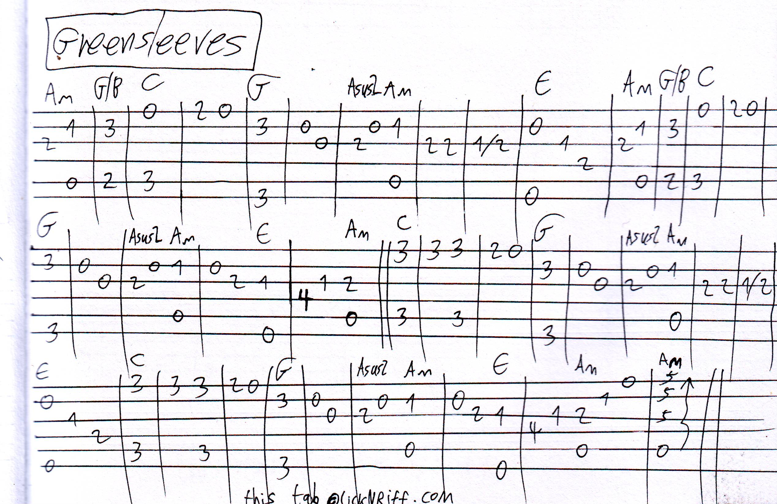 Pics Photos - Greensleeves Guitar Tab