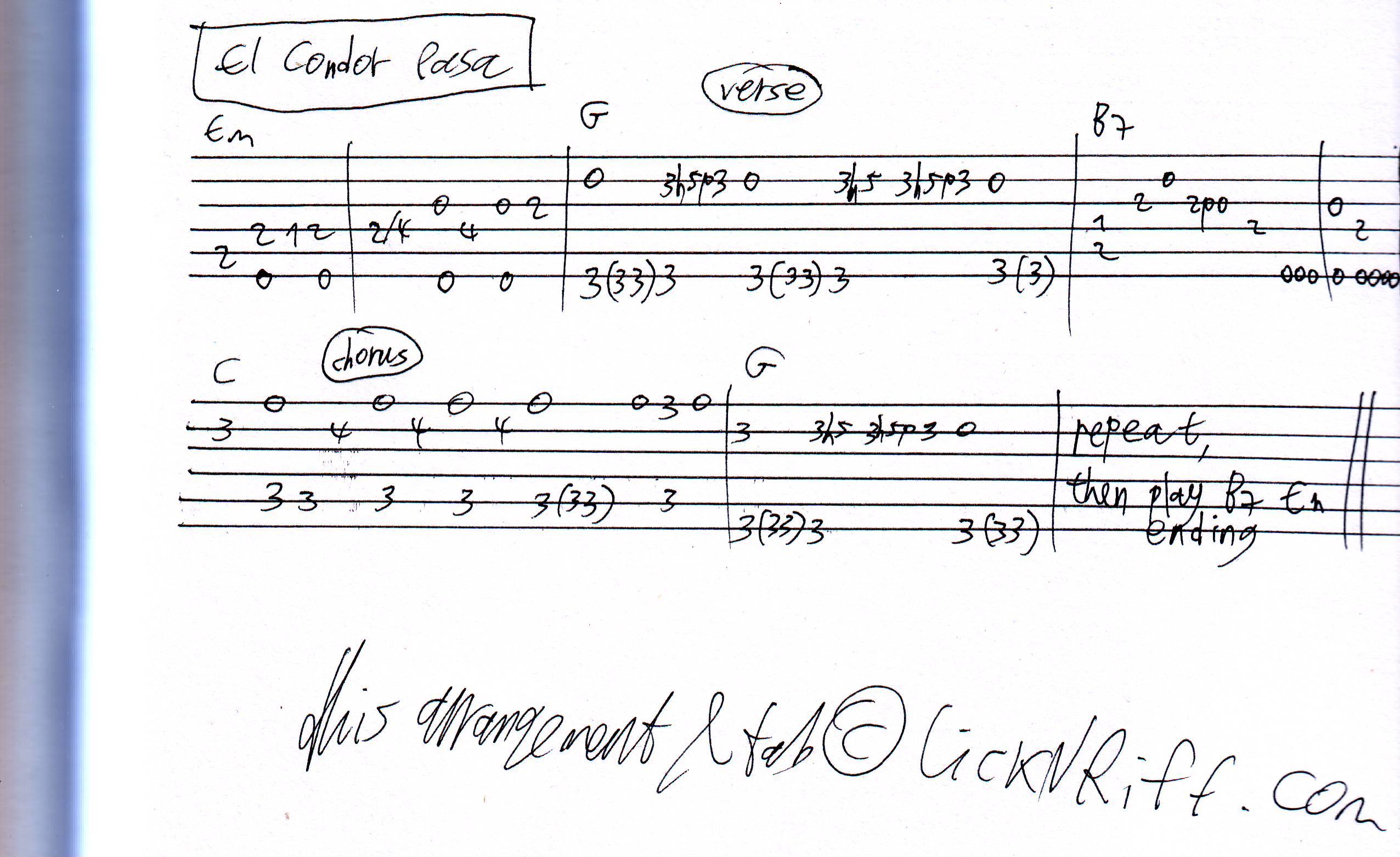 El Condor Pasa u00ab LickNu0026#39;Riff u2013 Create Your Own Guitar Legacy