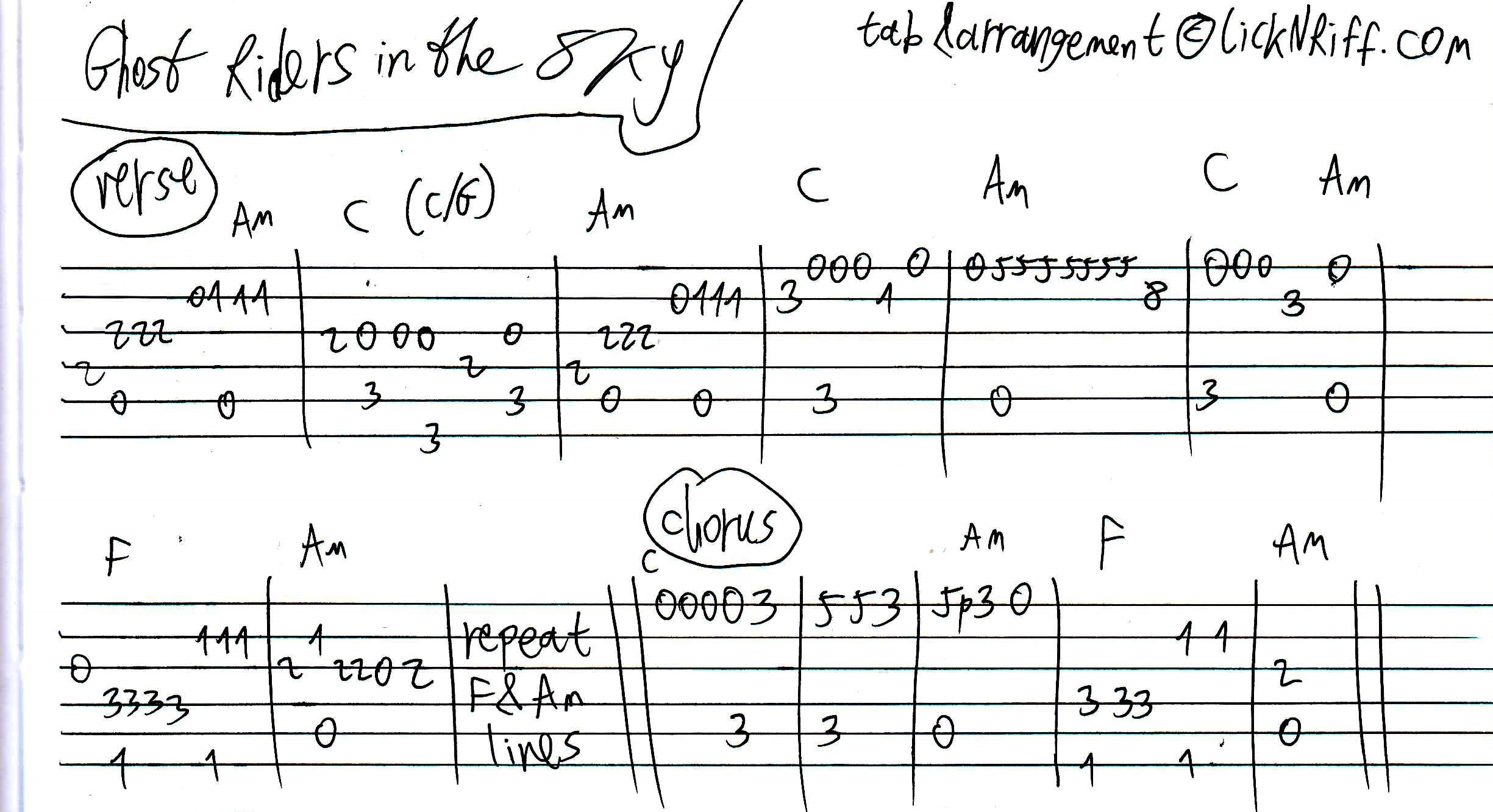 Johnny Cash   Ghost Riders in the Sky   Tablature   Tab   Chords ...