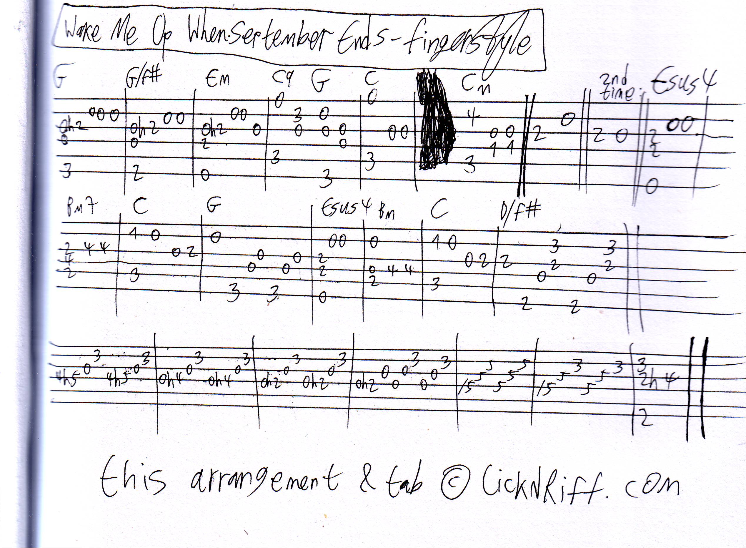 Fingerstyle Arr. – Wake Me Up When September Ends – LickN'Riff ...